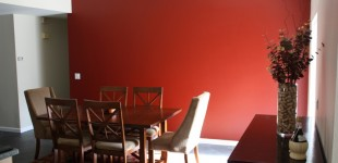 New red wall in the dining room